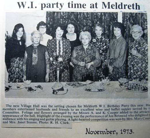 Meldreth W.I. birthday party November 1973 | Meldreth W.I.