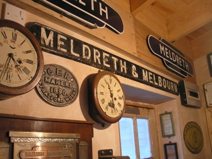 Meldreth and Melbourn Station Sign.  The station name changed to 'Meldreth' in 1971 | Photo by Tim Gane courtesy of Mike Sharman