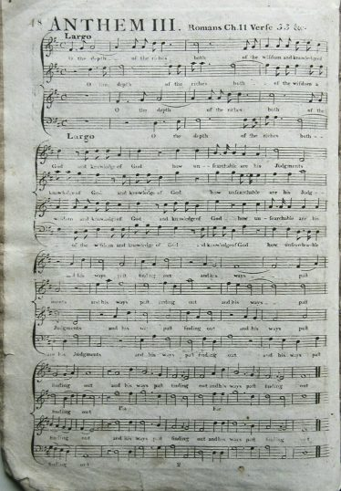 An example of one of the printed pages of anthems in the Meldreth Psalm Book | Linda Collins