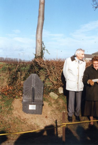 Sir Martin Rees, Astronomer Royal and Mary Course at the unveiling of the Meridian Marker   Photo supplied by Tim Gane