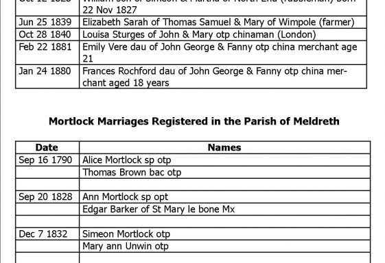 Introduction to the Mortlock Family and Meldreth Parish Records