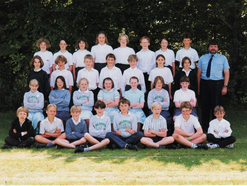 <b>Mr Neale's Class, 1992</b></br> Back row, from left: Gemma Besley, Jean Cuffe, Jane Stevens, Hannah Lilley, Emma Stearn, Joseph Reed, Jessica Swan, Gareth Watts<br> Second row, from left: Lisa Baker, Naomi Allen, Graham Pegg, George Sumsion, Graham Knight, Claire Sutton, Kelly Pearce<br> Third row, from left: Jenny Newton, Jo Warburton, Zoe Zimmerman, Sarah Briggs, Kirsty Rood, Rebecca Rastell, Jennifer Hills<br> Front row, from left: Ian Land, Daniel Wilson, Gary Pearce, John Dinnewell, ?, Ashley Baker, Lenny Hussey, Jamie Burge | Photograph courtesy of Christine Knight