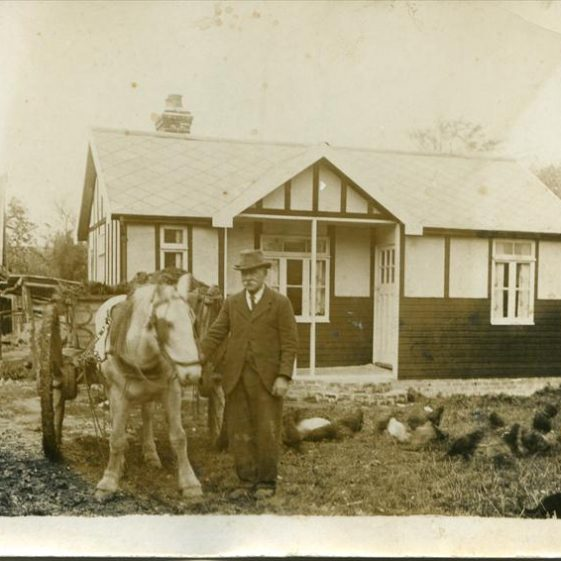 Bill East outside his bungalow on the corner of North End and Malton Lane, known as Dingle Dell.  c. 1935 | Photograph supplied by Teddy Handscombe