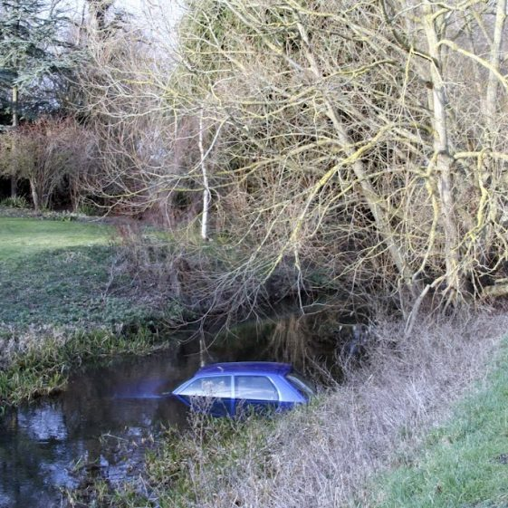 Car in the river near Malton Lane Bridge, 27 January 2012 | Photograph by Malcolm Woods