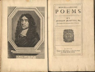 Andrew Marvell, poet 1621 - 1678 | Andrew Marvell, Miscellaneous poems, 1681, University of Leeds Library.