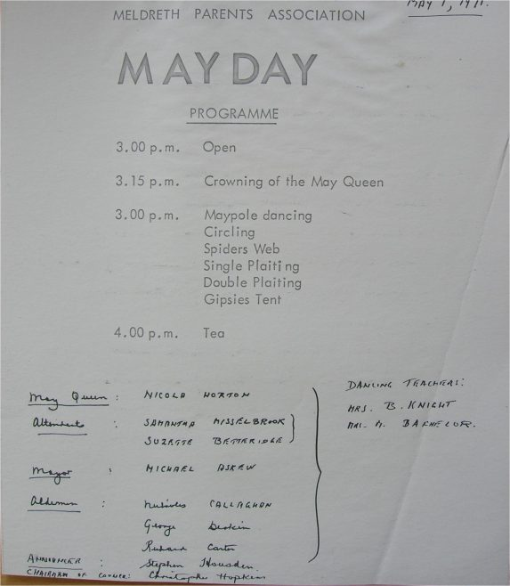 The May Day Programme, 1971 | Photograph courtesy of Meldreth Primary School