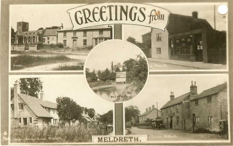 102397 Greetings from Meldreth<br> Multiview postcard showing Meldreth Church and vicarage (102352), Post Office (102355), Council Houses (102357), Railway Tavern (102379) and Flambards Mill (102368) | Bell's postcard supplied by Ann Handscombe