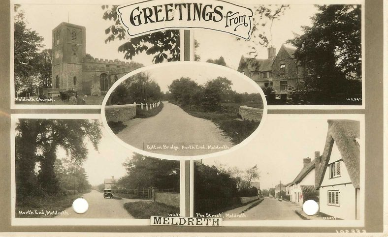 102333 Greetings from Meldreth:<br>Multiview postcard showing Meldreth Church (102335), the Manor House (102345), North End (102340), High Street (102349) and Gilton Bridge (102338) | Bell's postcard supplied by Ann Handscombe