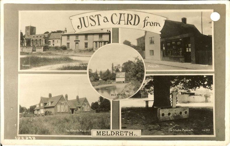 102398 Just a Card from Meldreth<br> Multiview postcard showing Meldreth Church and vicarage (102352), Post Office (102385), The Schools (102359), The Stocks (102365) and Flambards Mill (102368) | Bell's postcard supplied by Ann Handscombe