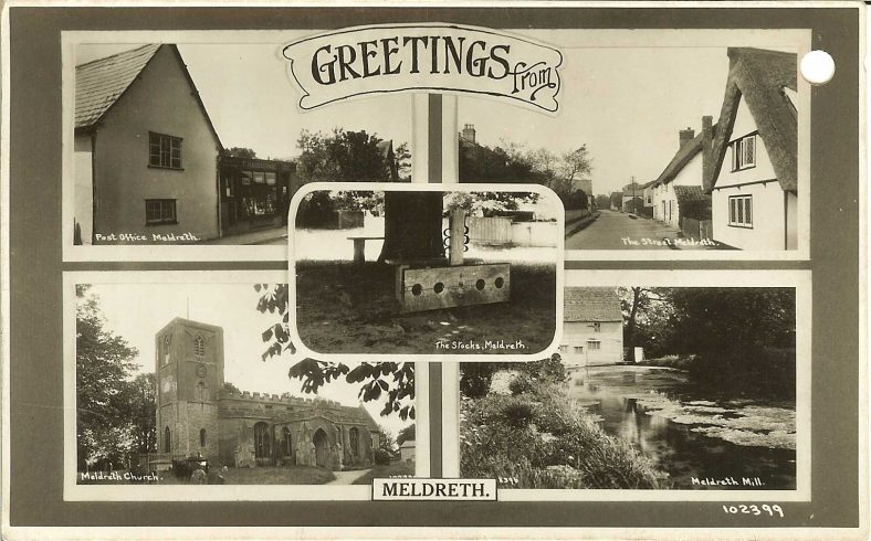 102399 Greetings from Meldreth<br> Multiview postcard showing the Post Office (102355), High Street (102349), Meldreth Church (102335), Topcliffe Mill (102399) and the Stocks (102365) | Bell's postcard supplied by Ann Handscombe
