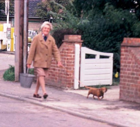 Mrs Carol Mead walking her dog in High Street, Meldreth.  1976 | Photo supplied by Ann Handscombe