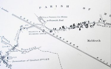 Extract from Map showing the proposed site of the Meldreth Gas Works | Cambridgeshire Archives