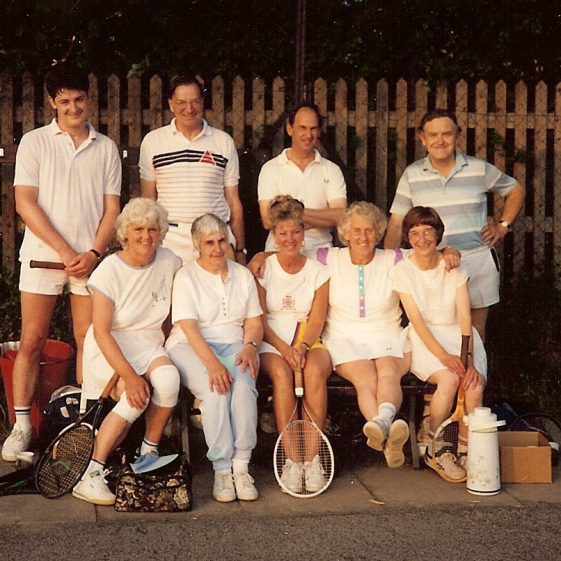 Back row, from left to right: Richard Clayton, Michael Clayton, David Bannister, Douglas Oliver.  Front row, from left to right: Gwen Clayton, Christine Gadd, Pat Silver, Marion Oliver, Ann Bannister.  c.1985 | Photograph supplied by Marion Oliver