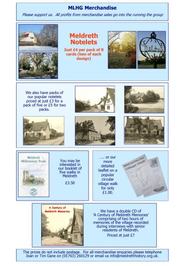 Merchandise Available from Meldreth Local History Group | Tim Gane