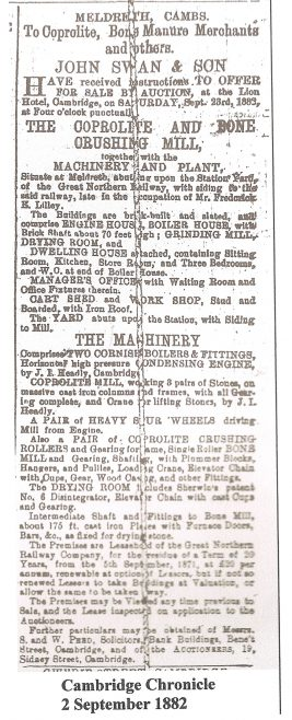 Advert for sale of Meldreth coprolite mill | Cambridge Chronicle