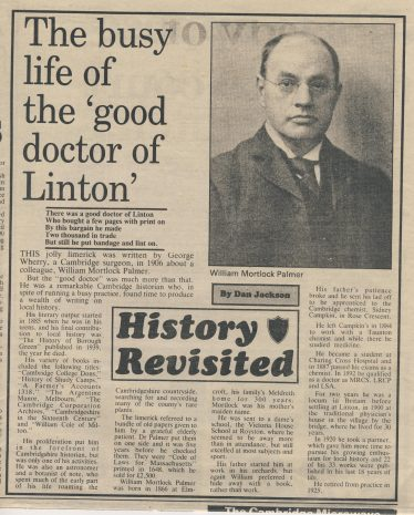 A newspaper cutting précising the life of William Mortlock Palmer