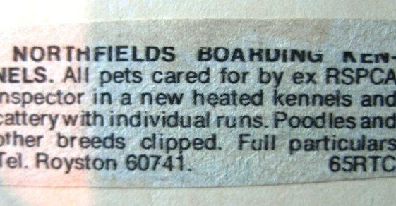 Advert for Northfield Boarding Kennels in Malton Lane (no longer trading) | Meldreth W.I.