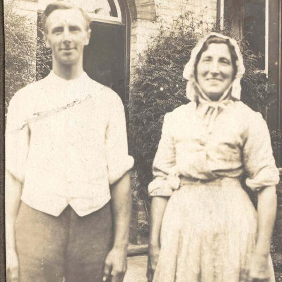 Frank Course pictured with his mother outside the front door of Northfield House, c. 1923 | Photograph supplied by Raymond Course