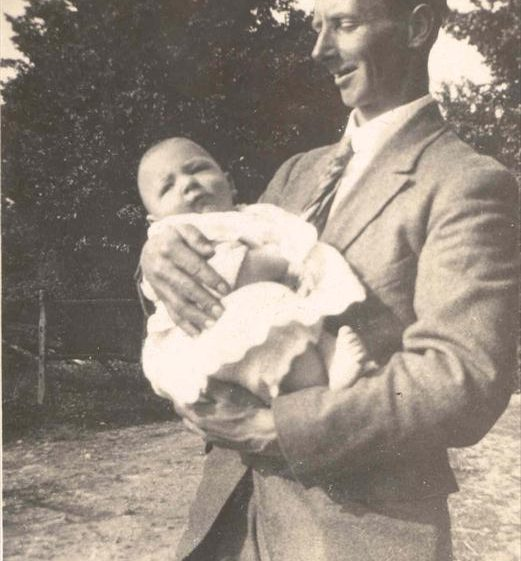 Frank Course, holding his son Raymond at Northfield House, c. 1924 | Photograph supplied by Raymond Course
