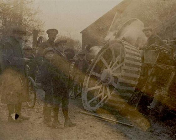 traction engine in a ditch outside Northfield House, c. 1918 | Photograph supplied by Raymond Course