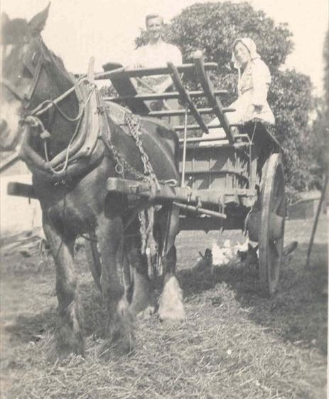 Frank Course and his mother with Diamond the horse at Northfield Farm, c. 1923 | Photograph supplied by Raymond Course