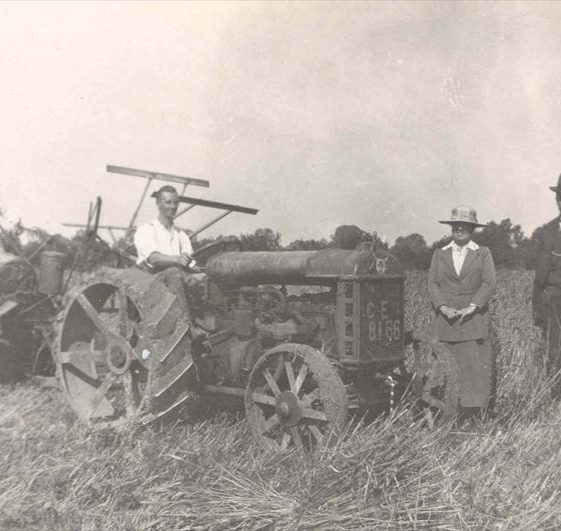 Frank Course on a tractor at Northfield Farm, c. 1923 | Photograph supplied by Raymond Course