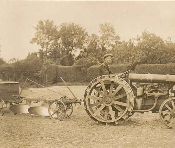 Frank Course on the tractor at Northfield House, c. 1923 | Photograph supplied by Raymond Course