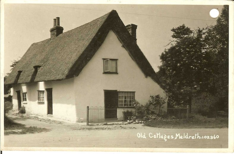 102360 Old Cottages, Meldreth<br> Shows a North End cottage which was demolished in 1947 | Bell's postcard supplied by Ann Handscombe