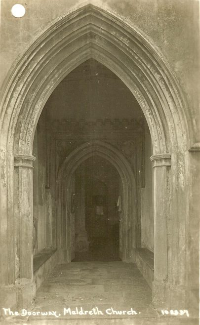102337 The Doorway, Meldreth Church | Bell's postcard supplied by Ann Handscombe