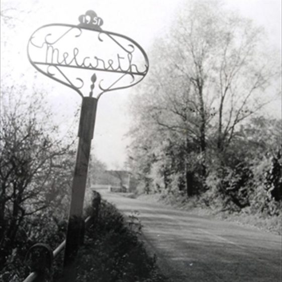 View of North End, showing the village sign, c. 1950s | Photograph supplied by Meldreth WI