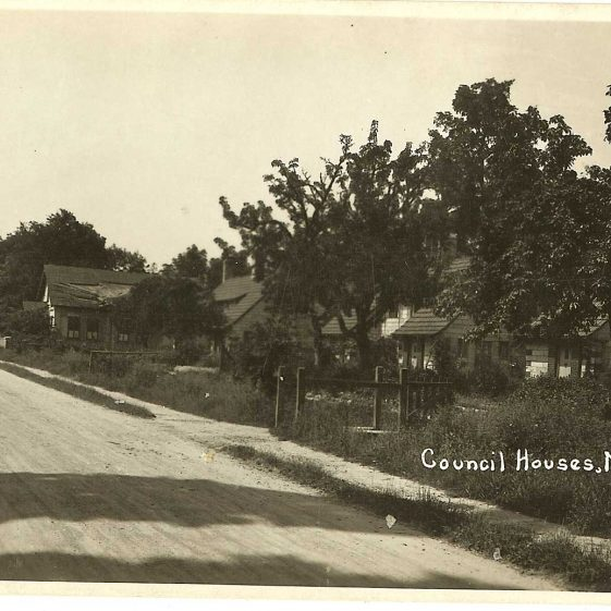 Council houses, c. 1930s.  The dilapidated parish room can just be seen in the distance. | Bell's postcard supplied by Ann Handscombe