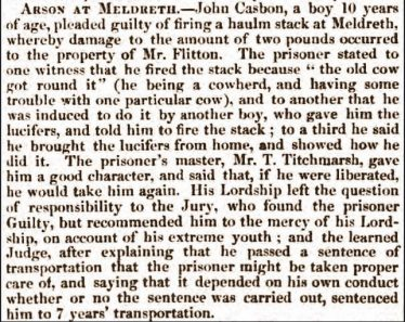 Arson at Meldreth | Bury and Norwich Post, Wednesday 28th July 1852