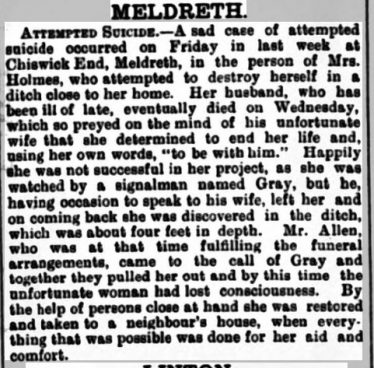 The report in the Herts & Cambs Reporter | 1st July 1898