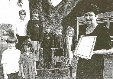 Headteacher Dorothy Brown with pupils, back from left: Tom Westley, Tamsin Elbourn, James Smith, Cameron McCreadie and Lauren Binge. Front, Thomas O'Brien and Helen Taylor | Photograph courtesy of Meldreth Primary School