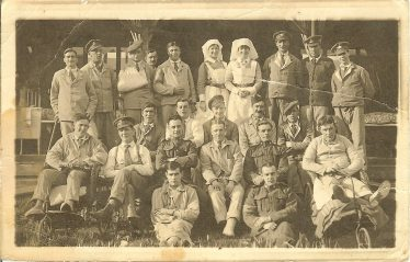 Possibly taken outside Hope Folly during World War 1.  Charles William Thurley is second from right in the middle row. | Donated by Les Thurley