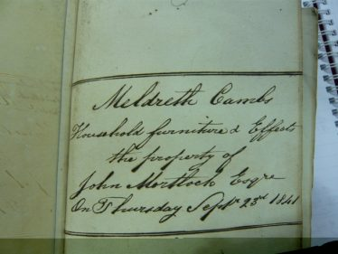 Sale of the Property of John Mortlock on September 25th 1841 | Cambridgeshire Archives
