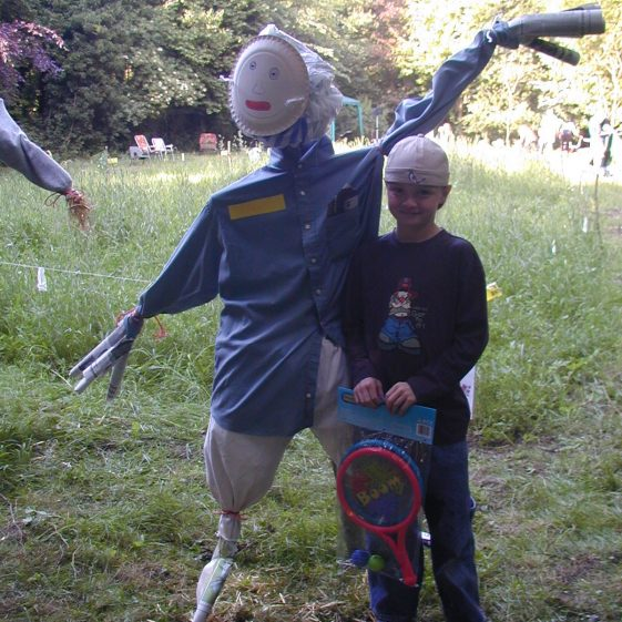 The winner of the scarecrow competition with his prize | Tim Gane