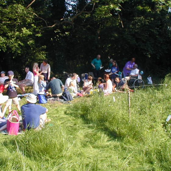 Picnickers enjoying the sunshine listening to a performance by Cafe Mondiale | Tim Gane