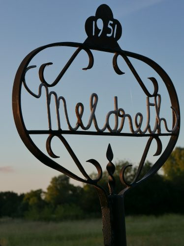 The Meldreth sign at Sheene Mill, made by Percy Cox to commemorate the Festival of Britain, 1951 | John Crawforth, July 2015