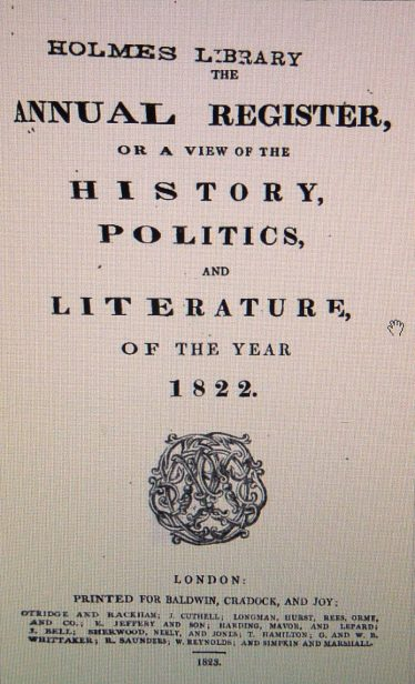 The Annual Register, or a view of the History, Polictics and Literature of the year 1822, compiled by Edmind Burke | Google Books