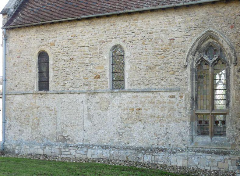 Chancel exterior showing scar of blocked door to vestry and 14thc window | Peter Draper