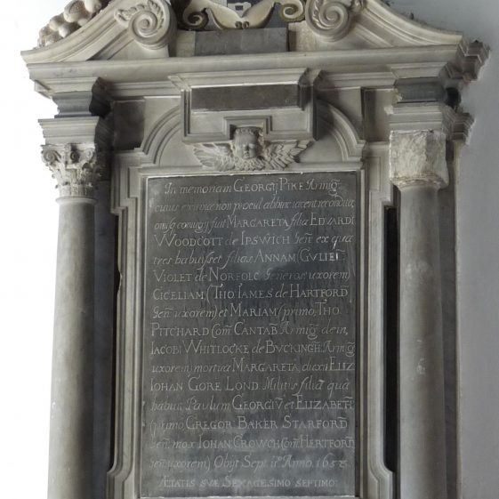 Pyke monument, now at west end of south aisle  1658 | Peter Draper