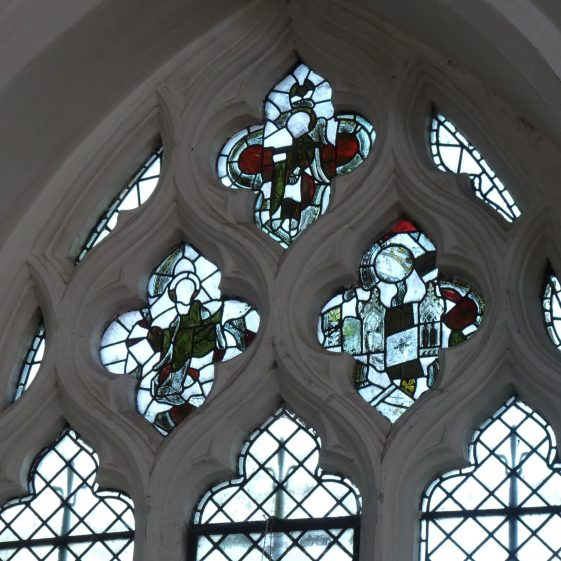 Nave, northeast window, reset fragments of medieval glass | Peter Draper