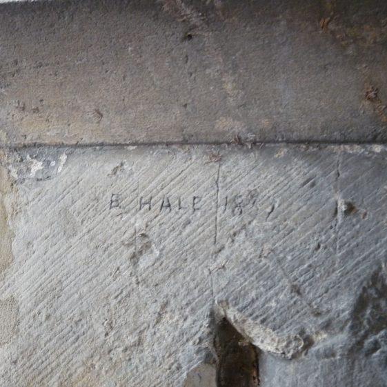 North door, west side, inscription 'B.Hale 1837' | Peter Draper