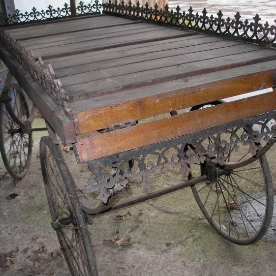 Rear View of the Funeral Bier.  The back section is hinged to allow the coffin to be slid on.  Rollers in the top assist in sliding the coffin into place | Photo by Tim Gane