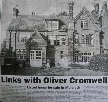 Sale of Meldreth Court in 2002 by Carter Jonas | Royston Weekly News, May 30th 2002