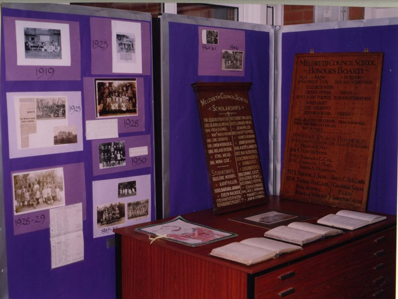 A small display on the history of the school   Photograph courtesy of Meldreth Primary School