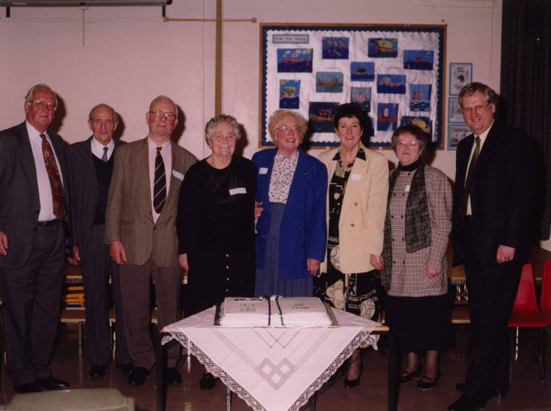From left: Keith Humphreys, Ron Harding, John Gipson, Mrs Melody, Margaret Hunter, Dorothy Brown, Anne Harding, Andrew Baxter   Photograph courtesy of Meldreth Primary School