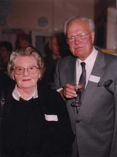 Dorothy Pepper with Ken Singleton   Photograph courtesy of Meldreth Primary School