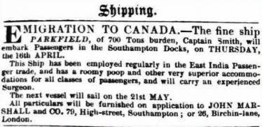 Advertisement for the ship <em>Parkfield</em>, March  1846 | British Newspaper Archive